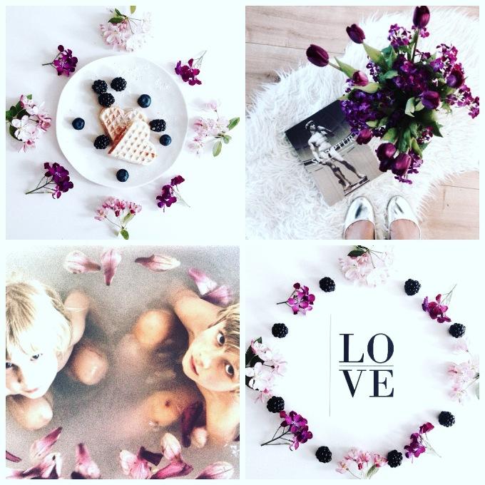 Collage in Lila zum Thema Liebe