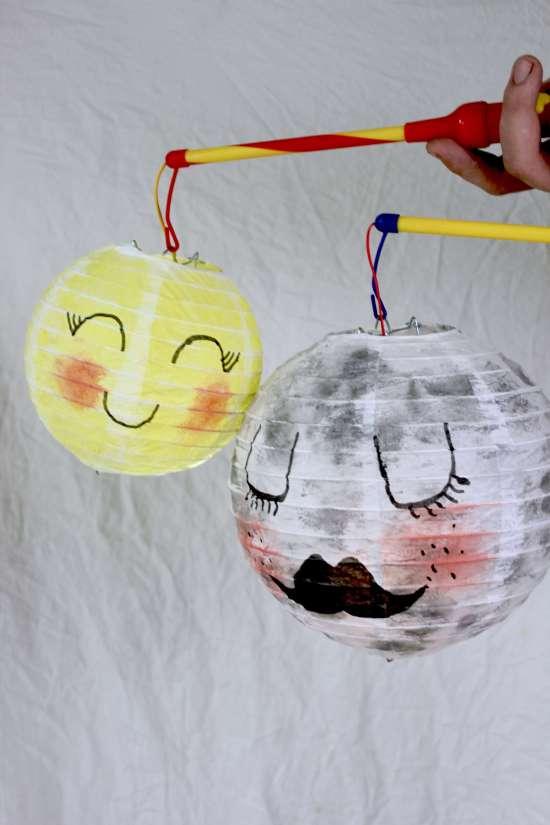 DIY: Laterne für Kinder einfach basteln mit Anleitung für eine Mond Laterne