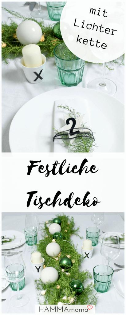 DIY-Ideen: Skandinavisch mit Tannen-Grün: Festliche Tischdeko für Weihnachten mit Lichterkette