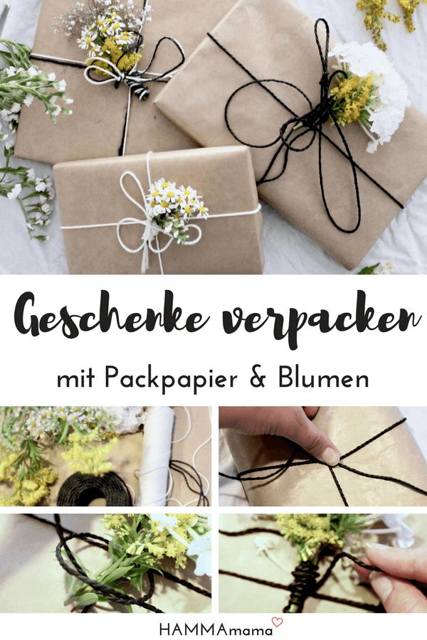 Anleitung: Geschenke kreativ verpacken mit Packpapier und Blumen