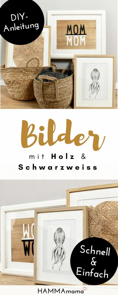 Bilder für das Wohnzimmer als Skandinavisch-Dekoration selber machen Ideen für coole Motive mit Holz und Schwarzweiss