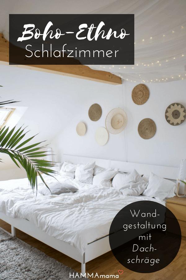 Skandinavisch Wohnen Mit Boho Ethno Wandgestaltung Im Schlafzimmer Mit  Dachschräge Und Familienbett