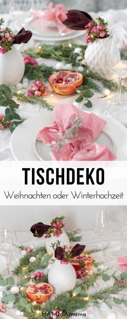 Festliche Tischdekoration für Weihnachten oder eine Winter-Hochzeit aus der Natur in Altrosa_1
