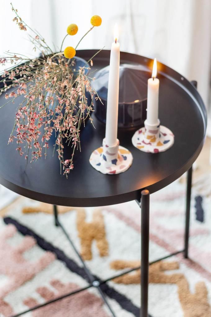DIY Kerzenständer in Terrazzo-Optik selber machen
